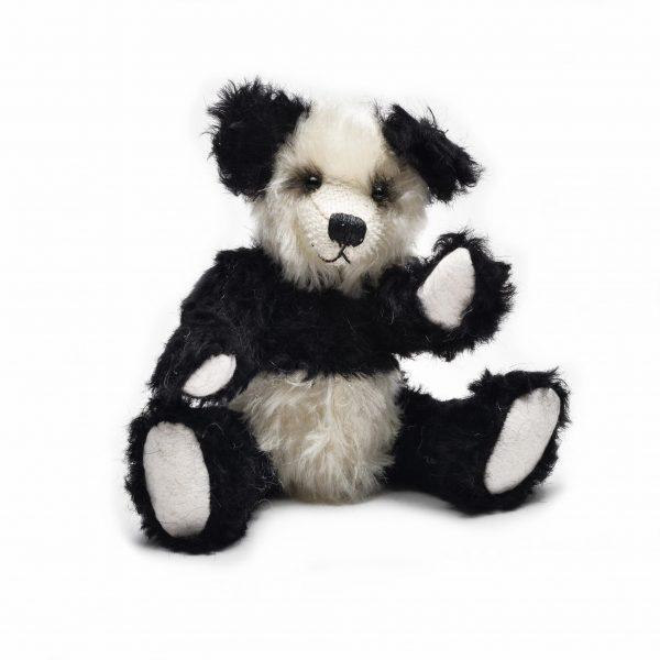 black and white mohair handmade teddy bear, baby gift heirloom, nc made nursery gift, unique handmade baby shower gift, nc fiber artist