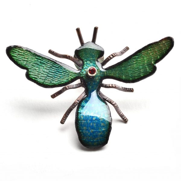 expensive bee jewelry, handmade enameled bee with gemstone, bug jewelry,