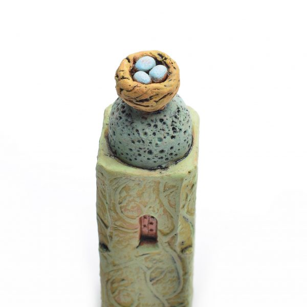 top detail of prayer tower with nest with robins eggs, green clay handmade house with nest, good luck gift, prayer gift