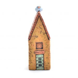 clay house sculpture with blue bird, creative housewarming gift,