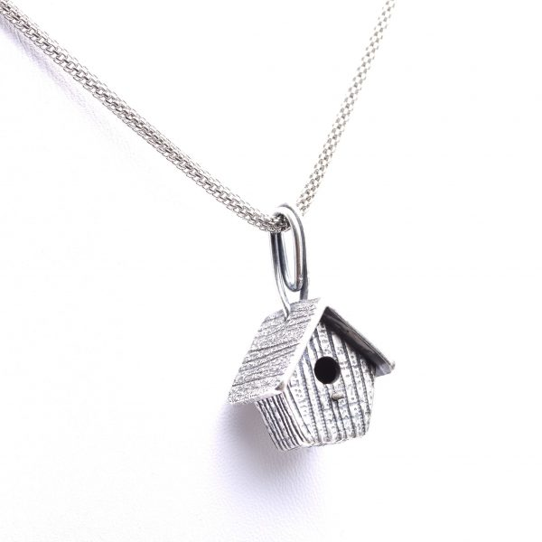 handmade pmc silver birdhouse necklace, precious metal clay silver artist, asheville jeweler, gift for bird watcher