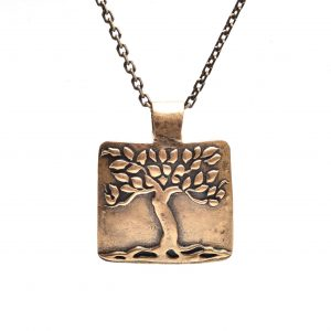 copper pmc tree necklace on sturdy chain, precious metal clay copper tree necklace, nc jewelery