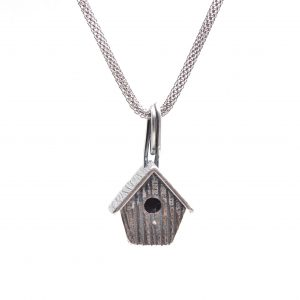 silver pmc birdhouse necklace, handmade silver precious metal clay birdhouse necklace on silver chain, nc jewelery artist, gift for gardener, gift for bird watcher