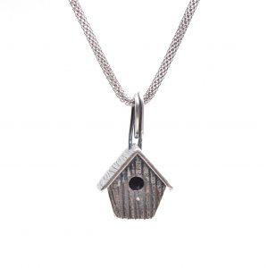 silver pmc birdhouse necklace, handmade silver precious metal clay birdhouse necklace on silver chain, nc jewelery artist, gift for gardener, gift for bird watcher
