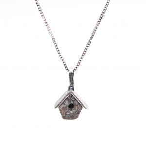 nc pmc silver birdhouse necklace, handmade silver necklace, gift for bird watcher