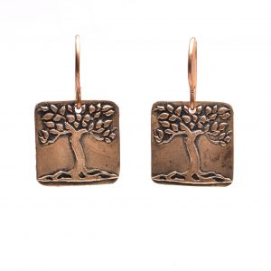 copper pmc tree earrings, copper precious metal clay tree earrings with matching necklace, hippie jewelry