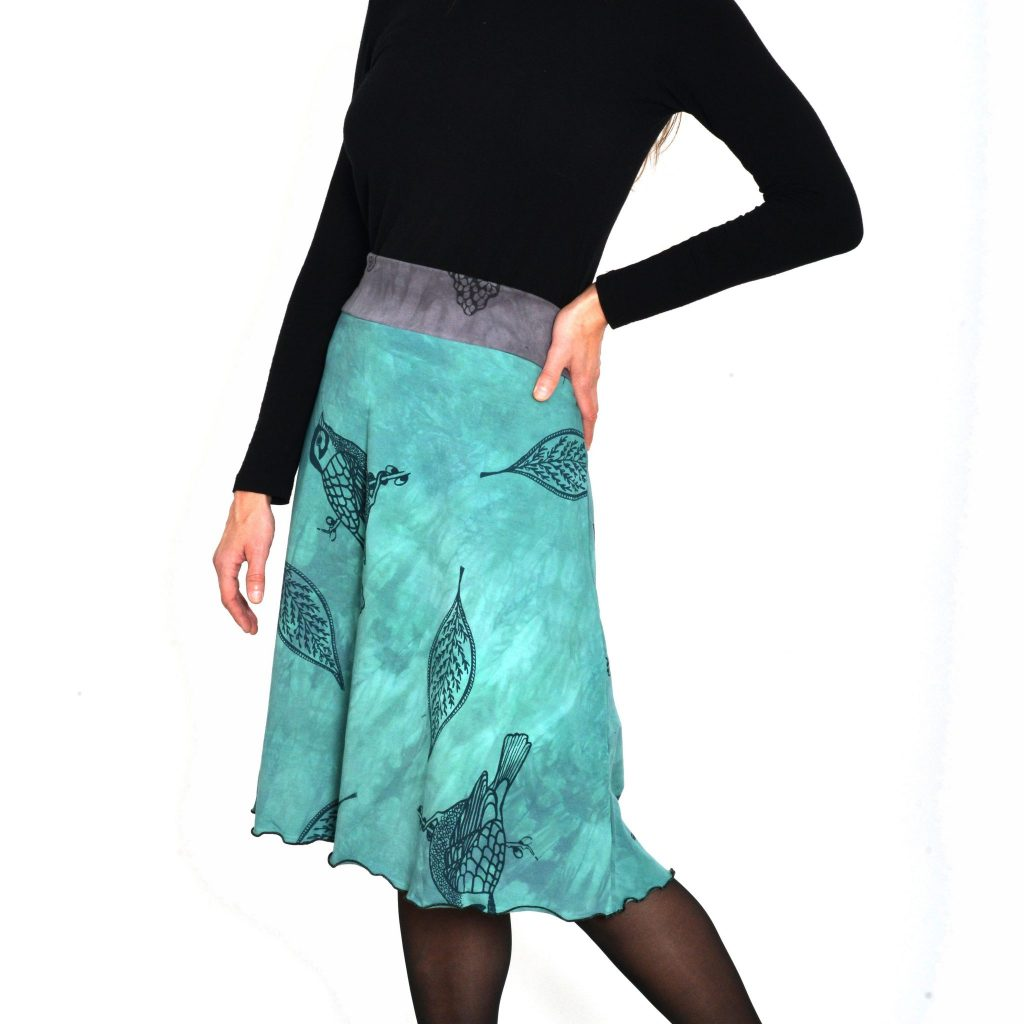 every day skirt, teal skirt with leave and bird prints with gray waistband, organic cotton handmade and dyed skirt