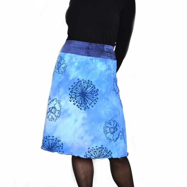 every day skirt, blue skirt with flower and queen anne's lace prints with purple waistband, organic cotton handmade and dyed skirt