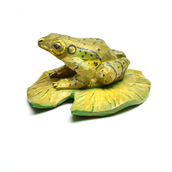 front view of hand carved frog toad, traditional wooden painted frog carving, folk art center,
