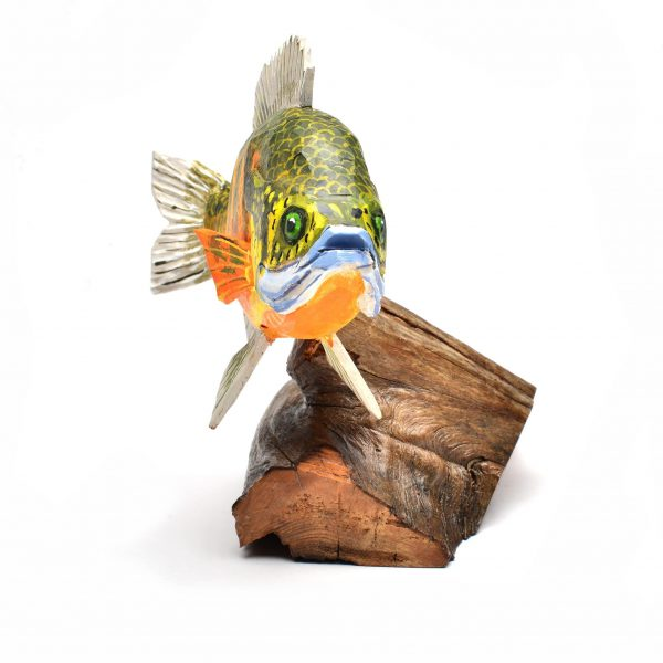 face view of handcarved and hand painted fish, folk art center, fish art