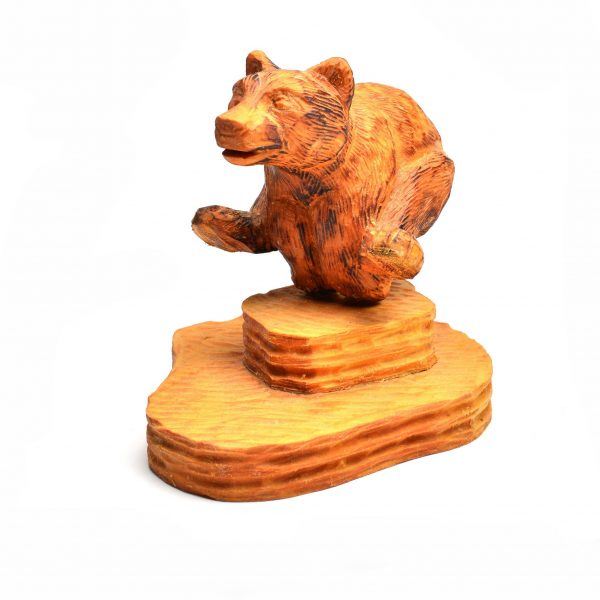 carved wooden bear, folk art, asheville craft