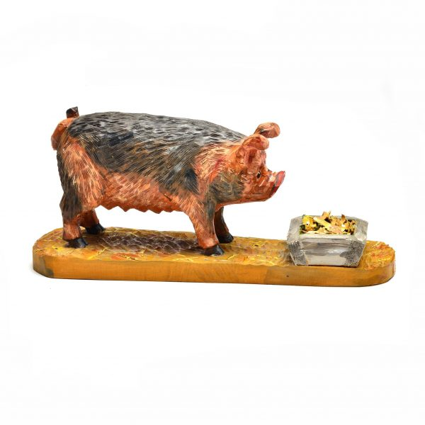 carved hog with slop bucket, folk art, traditional southern craft,