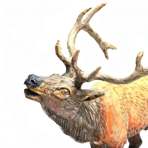 wooden deer carvings, folk art, carved and painted wooden animal