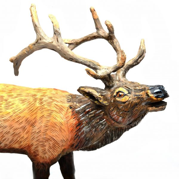 head shot of wooden deer carvings, folk art, carved and painted wooden animal