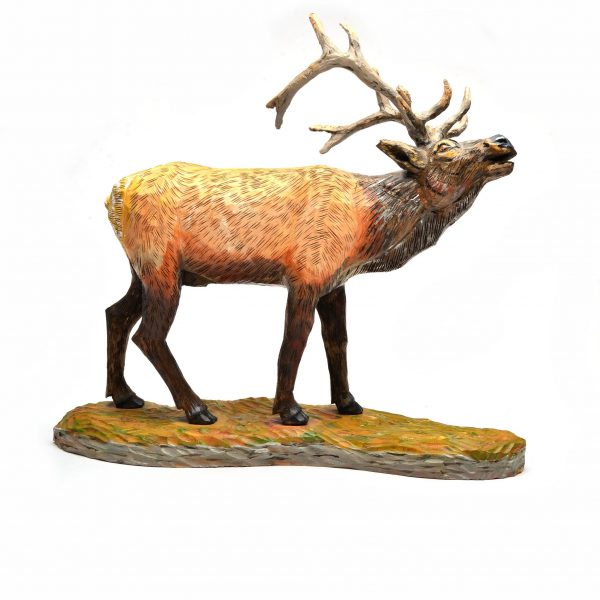 wooden carved and painted elk, southern folk art,