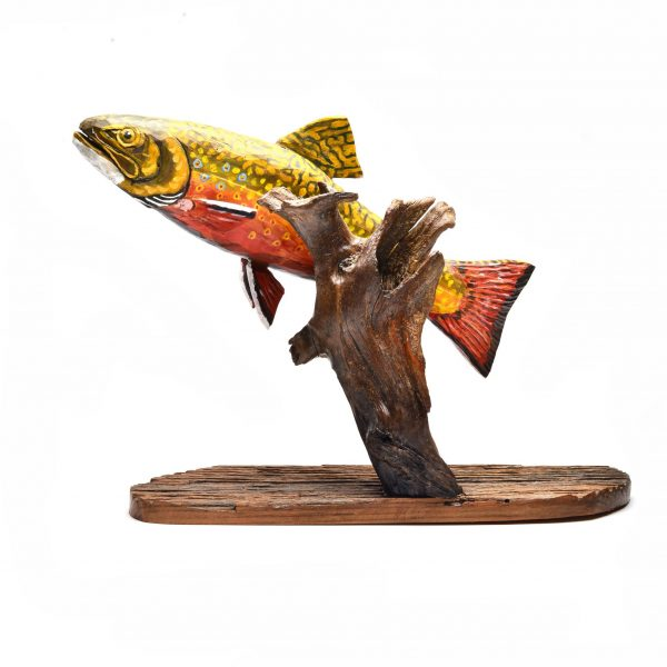 hand carved and painted wooden fish, folk art, asheville traditional craft