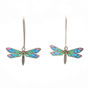 Colorful stained glass dragonfly dangle earrings with colored wings and accent stone on body