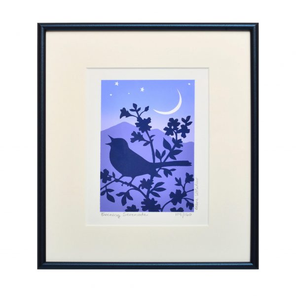 handmade bird print of a bird singing in a tree, mountain home decor, framed print, penland printmaker