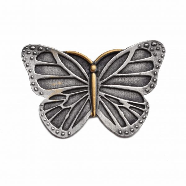 handmade pewter jewelry, nature jewelry, affordable handmade butterfly pin with gold body