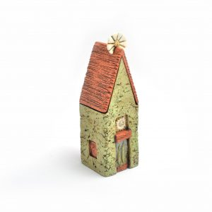 flower house, housewarming gift, handmade ceramic house, byers mccurry, small ceramic wall sculpture