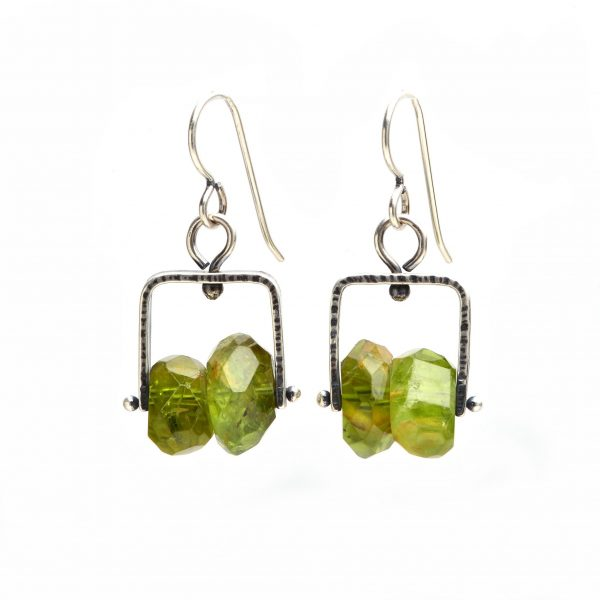 peridot gemstones and sterling silver dangle earrings, large gemstone earrings, artful home jewelry, folk art center
