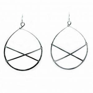 light silver hoop earrings, artful home, modern jewelry, handmade everyday hoop earrings