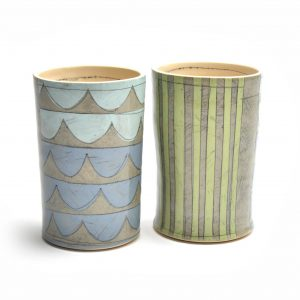 benyo pottery cups, paper resist ceramic cups