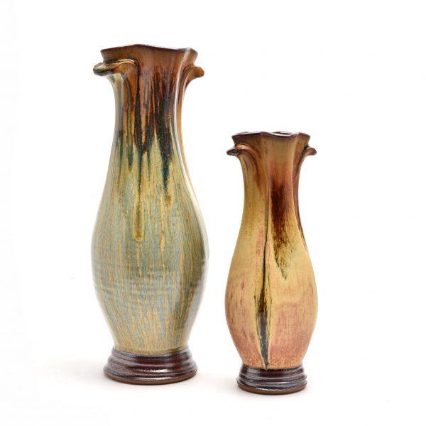 asheville pottery, nc potter, village potters, large handmade ceramic vase with drippy glaze