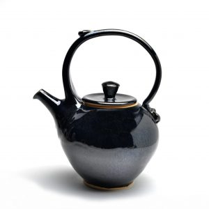 jet black handmade teapot, top handled wheel thrown teapot, weaverville potter,