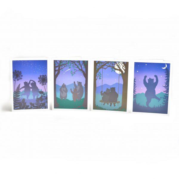 dancing bear notecards, handmade print bear notecards, bear in sunset notcards