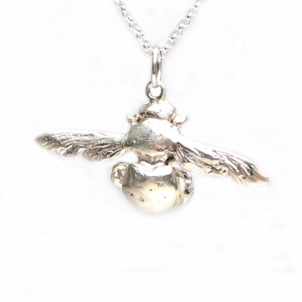 silver or bronze carpenter bee pendant, bee necklace, cast silver and bronze bee necklace, save the bees jewelry