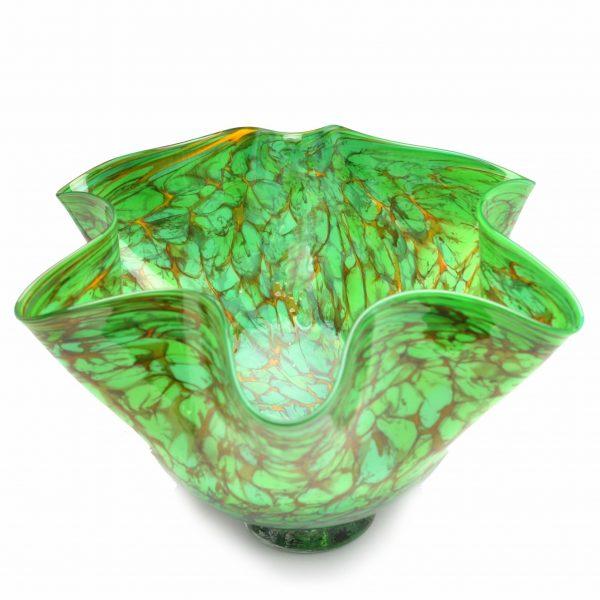 asheville glass blowing, green handmade glass bowl, weaverville artist,