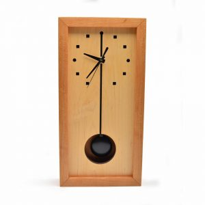 tall wooden box clock with pendulum, sabbath day woods clock, shelf or wall clock