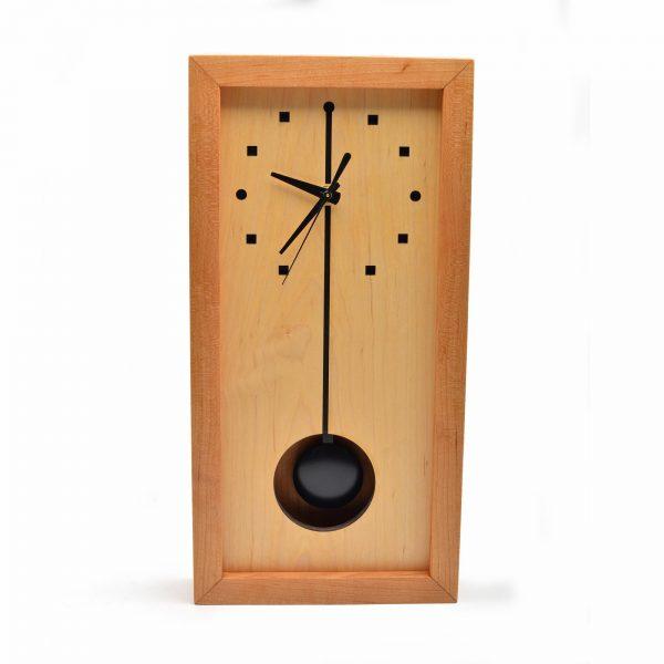 tall wooden box clock with pendulum, sabbath day woods clock, shelf or wall clock