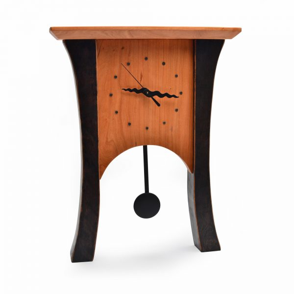 black and cherry mantle clock, wall clock with pendulum, mixed wood clock, sabbath day woods, desmond suarez