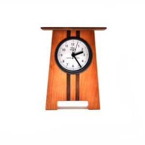 craftsmen style, cherry and walnut clock with dark stripes, wood mantle clock, wood shelf clock, handmade wooden clock