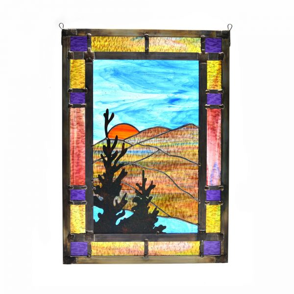 large stained glass panel, mountain home stained glass, mountain home decor, handmade stained glass