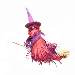 gift for baker, handmade colorful flying witch for kitchen,