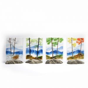 seasonal glass wall art, fused glass artist nc, north carolina glass artist, osaka glass,