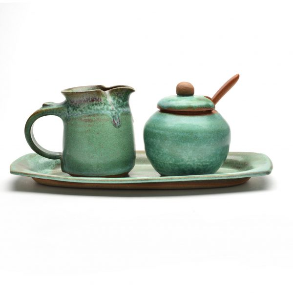 green ceramic cream and sugar set, nc potter, weaverville north carolina potter, main street weaverville potter, rob and beth mangum