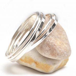 heavy silver bangle bracelets, shiny silver bracelets, nc jewelry, wedding jewelry