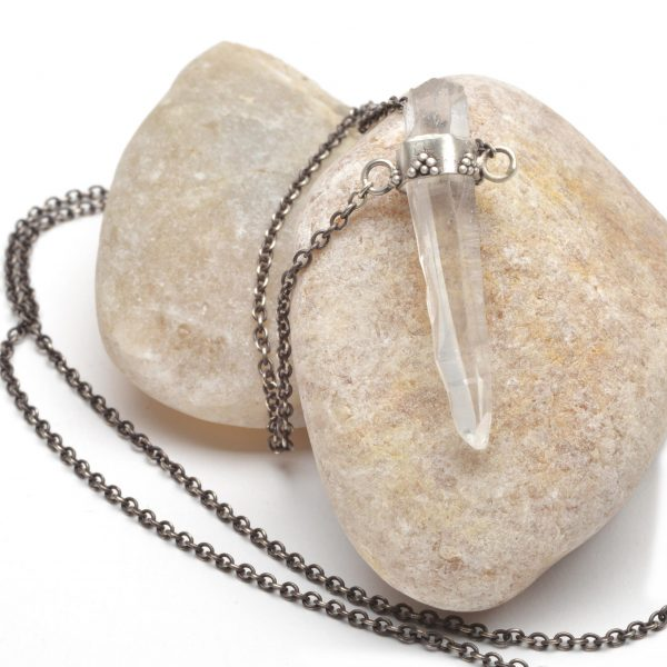hippy necklace, handmade crystal necklace, clear crystal on silver chain