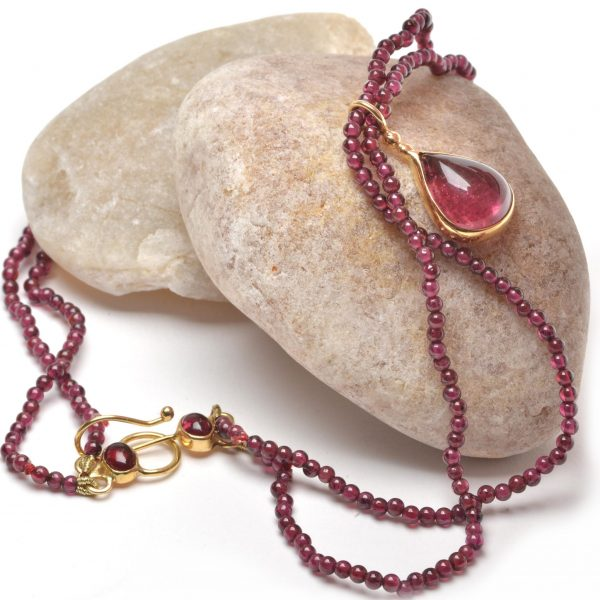 pink tourmaline necklace, gold and pink jewelry, handmade classic jewelry, wedding necklace