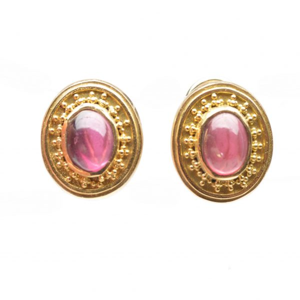 gold and tourmaline earrings, classic pink and gold, unique handmade jewelry,