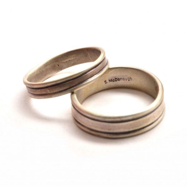 handmade wedding bands, wedding band jeweler, nc made wedding bands, sterling silver handmade wedding bands, wedding jewelry, brushed silver bands, asheville wedding jewelry, asheville wedding