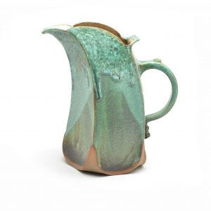 matte green glazed ceramic pitcher, nc potter, weaverville nc pottery, handmade green pitcher