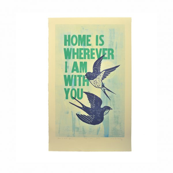 valentine's day print, gift for wife, house warming gift, blue and green handprinted block print with birds