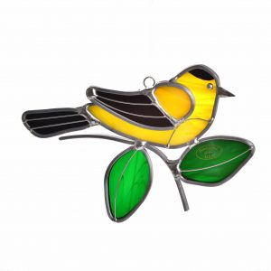 yellow goldfinch suncatcher with green leaves, bird watcher gift, cheap handmade gift, folk art center,