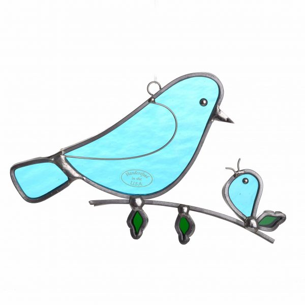 mother and baby stained glass bird, cheap mothers day gift, blue bird on a branch with baby bird, handmade suncatcher, cheap handmade mothers day gift
