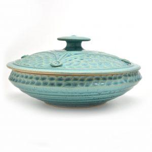 handmade turquoise casserole dish, handmade potluck dish